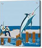 Blue Marlin Fish Jumping Retro Acrylic Print