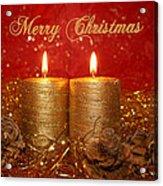 2 Candles Christmas Card Acrylic Print