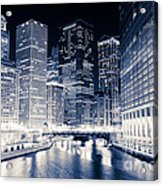 Chicago River Buildings At Night Acrylic Print