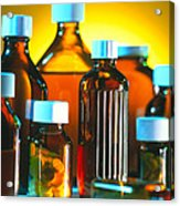 Collection Of Medicine Bottles With Safety Caps Acrylic Print by Tek Image