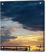 Destroyed  Pier Sea Sunset Acrylic Print