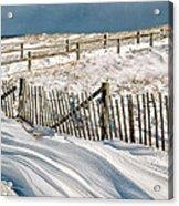 Drifting Snow Along The Beach Fences At Nauset Beach In Orleans  Acrylic Print
