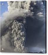 Eruption Of Ash Cloud From Mount Bromo Acrylic Print