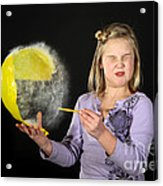 Girl Popping A Balloon Acrylic Print