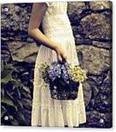 Girl With Flowers Acrylic Print by Joana Kruse