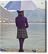 Girl With Umbrella Acrylic Print