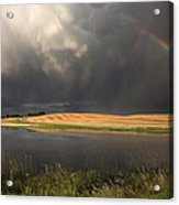 Hail Storm And Rainbow Acrylic Print