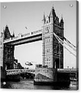 Helicopter At Tower Bridge Acrylic Print