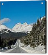 Highway In Winter Through Mountains Acrylic Print