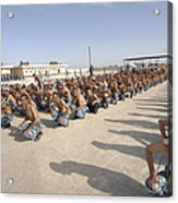 Iraqi Police Cadets Being Trained Acrylic Print by Andrew Chittock