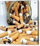 Jar Overflowing With Cigarette Butts Acrylic Print