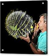 Man Over-inflating Balloon Acrylic Print