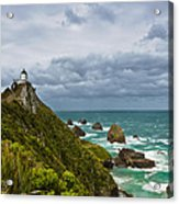 Nugget Point Light House And Dark Clouds In The Sky Acrylic Print