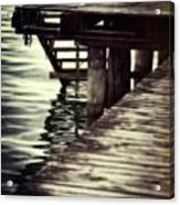 Old Wooden Pier With Stairs Into The Lake Acrylic Print