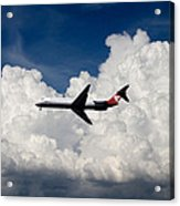 Passenger Jet And Clouds Acrylic Print