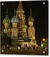 Red Square In Moscow At Night Acrylic Print