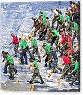 Sailors Perform A Flight Deck Wash Acrylic Print