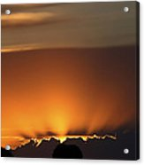 Setting Sun Peaking Out From Storm Clouds In Saskatchewan Acrylic Print
