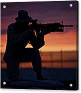 Silhouette Of A U.s Marine On A Bunker Acrylic Print