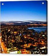 Sunset Over A City Nice Illuminated Acrylic Print