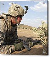 U.s Army Specialist Provides Security Acrylic Print