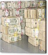 Us Bills In Bundles Acrylic Print