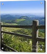 View From Puy De Dome Onto The Volcanic Landscape Of The Chaine Des Puys. Auvergne. France Acrylic Print