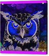 2011 Dreamy Horned Owl Negative Acrylic Print by Lilibeth Andre