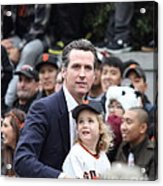 2012 San Francisco Giants World Series Champions Parade - Gavin Newsom - Dpp0005 Acrylic Print by Wingsdomain Art and Photography