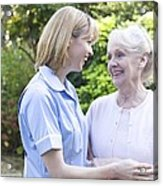 Nurse On A Home Visit Acrylic Print