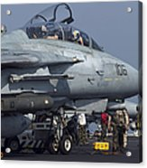 An F-14d Tomcat On The Flight Deck Acrylic Print