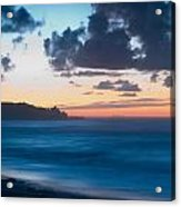 A Beach During Sunset With Glowing Sky Acrylic Print