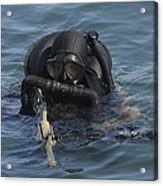 A Navy Seal Combat Swimmer Acrylic Print by Michael Wood