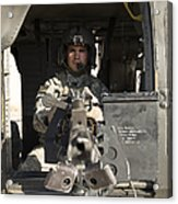 A Uh-60 Black Hawk Door Gunner Manning Acrylic Print