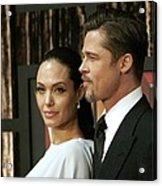 Angelina Jolie, Brad Pitt At Arrivals Acrylic Print