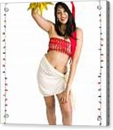Asian Woman With Santa Hat  Acrylic Print