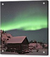 Aurora Borealis Over A Cabin, Northwest Acrylic Print