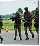 Belgian Paracommandos Entering Acrylic Print by Luc De Jaeger