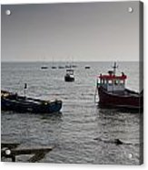 Boats Moored Off Of Leigh Essex Acrylic Print