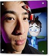 Brainwave-reading Headset Acrylic Print by Volker Steger