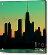 Chicago Skyline Cartoon Acrylic Print by Sophie Vigneault
