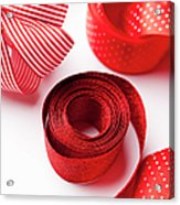 Close Up Of Decorative Red Ribbons Acrylic Print