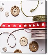 Close Up Of Ribbon, String And Buttons Acrylic Print
