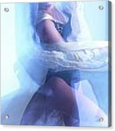 Fashion Photo Of A Woman In Shining Blue Settings Acrylic Print by Oleksiy Maksymenko