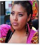 Hispanic Columbus Day Parade Nyc 11 9 11 Female Marcher Acrylic Print