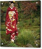 Kimono-clad Geisha In A Park Acrylic Print