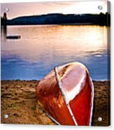 Lake Sunset With Canoe On Beach Acrylic Print