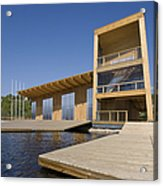 Lakeside Building And Dock Acrylic Print by Jaak Nilson