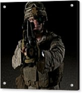 Portrait Of A U.s. Marine Wearing Night Acrylic Print