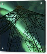 Powerlines And Aurora Borealis Acrylic Print